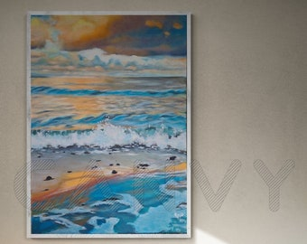 Orange-Blue, Original, Painting, Acrylic, Canvas painting, Unique, handmade, Acrylic painting, Artist, Mural,