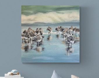 Sandpiper, Original, Painting, Acrylic, Canvas painting, Unique, handmade, Acrylic painting, Artist, Mural,