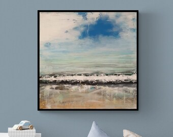 Where the sea ends and the sky begins, original, painting, acrylic, canvas painting, unique, handmade, acrylic painting, artist, mural,