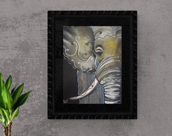 Elephant, Original, Painting, Acrylic, Canvas painting, Unique, handmade, Acrylic painting, Artist, Mural,