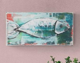 Fish #1, Original, Painting, Acrylic, Canvas painting, Unique, handmade, Acrylic painting, Artist, Mural,
