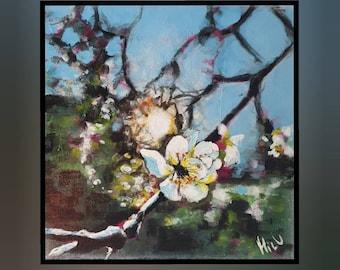 cherry blossom, original, painting, acrylic, canvas painting, unique, handmade, acrylic painting, artist, mural,