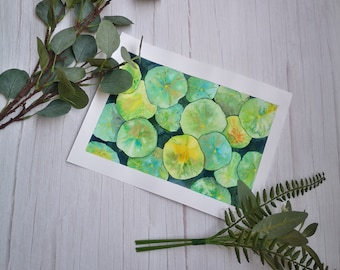 Botanical watercolor, nasturtium leaves, wall decoration, drawing leaves, watercolor, Exclusive work. Wilderness. Botanical illustration
