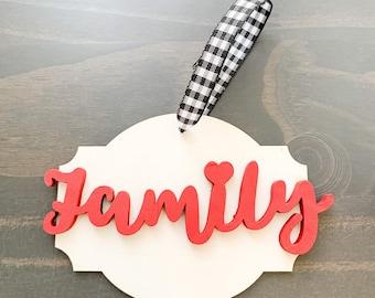 Wood Family Christmas Ornament, Wood Ornament