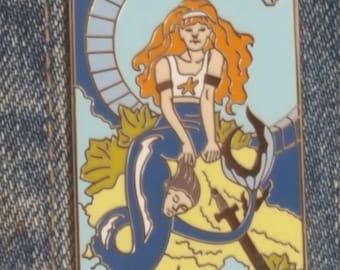 """Warrior Mermaid II, based on original watercolor painting, """"Warrior Mermaid."""""""