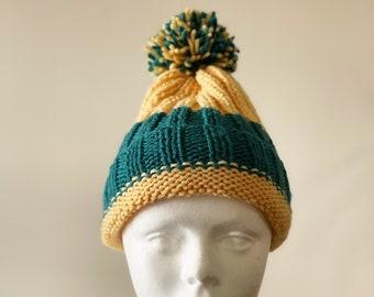 Handmade Knit Pompom Beanie Yellow & Blue | Fall - Winter Hat