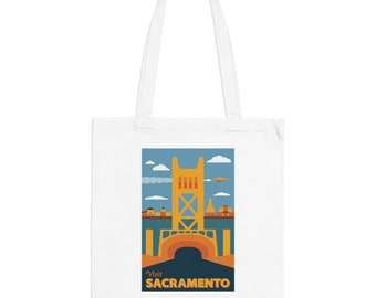 Sacramento California Mid-Century Town Minimalist Print | Long Handle Canvas Tote Bag | 2 colors