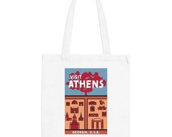 Athens Georgia Hipster Town Minimalist Print | Long Handle Canvas Tote Bag | 2 colors