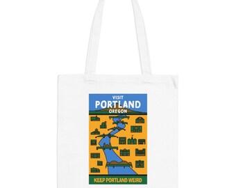 Portland Oregon Hipster Town Minimalist Print | Long Handle Canvas Tote Bag | 2 colors