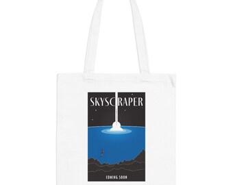 Skyscraper Movie Poster Minimalist Print | Long Handle Canvas Tote Bag | 2 colors