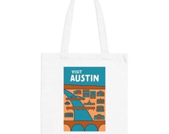 Austin Texas Hipster Town Minimalist Print | Long Handle Canvas Tote Bag | 2 colors
