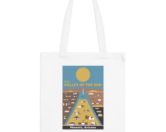 Phoenix Arizona Mid-Century Town Minimalist Print | Long Handle Canvas Tote Bag | 2 colors