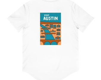 Austin Texas Hipster Town Minimalist Print | Two Sided Men's Jersey Curved Hem Tee Shirt | T-Shirt | 5 colors