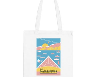 Palm Springs California Mid-Century Town Minimalist Print | Long Handle Canvas Tote Bag | 2 colors