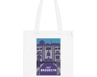 Brooklyn New York Hipster Town Minimalist Print | Long Handle Canvas Tote Bag | 2 colors