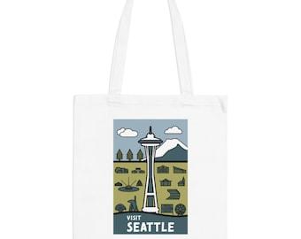 Seattle Washington Hipster Town Minimalist Print | Long Handle Canvas Tote Bag | 2 colors