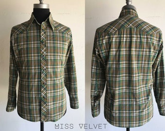 Mens Western Cowboy Shirt Plaid Cotton Snaps 1970's style