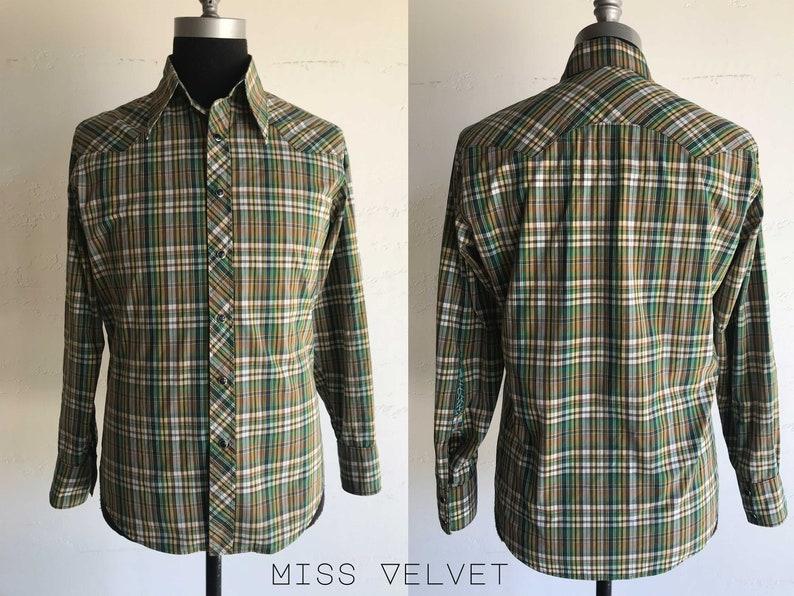Mens Western Cowboy Shirt Plaid Cotton Snaps 1970's style image 0