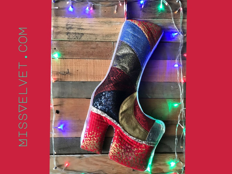 Glam Rock Christmas Boot Stocking Handmade Quilted Lamé image 1