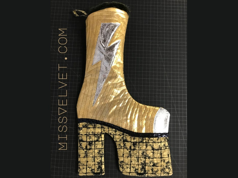 Glam Rock Christmas Boot Stocking Gold Lamé Sequins Quilted image 1