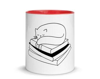 Black Cat on Books Mug with Color Inside