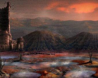 Vulkantal, Illustration, Fantasy, Caravan in Vulkan Tal, with castle ruin