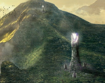 Crystal Towers, Illustration, Fantasy, Mountain Landscape, With Crystals Shining on Towers
