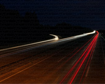 Digital Download png File, Night Photography, Long Exposure, Light Strips of Car Headlight