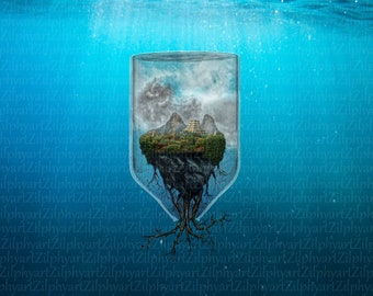 Bottles World, Illustration Fantasy Island floating, floating with ruins in bottle, roots growing out