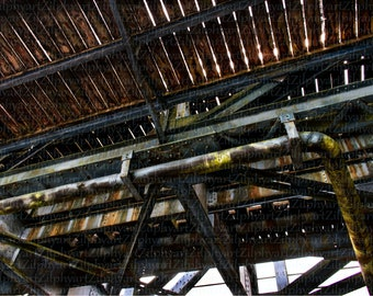 Digital Download png File, Architectural Photography, Bridge Construction, Underside with Wood and Metal