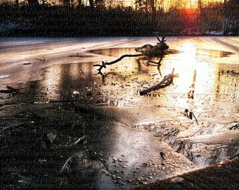 Digital Download png File, Landscape Photography, Sunset, Water Reflection Orange