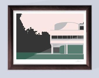 Le Corbusier Villa Savoye Modern art screen print digital download - Print your own artwork!