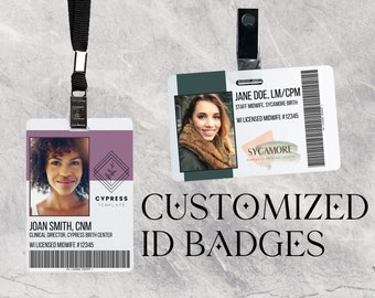 Customized ID Cards (midwife, student midwife, doula, birth workers) your logo, colors, and more - optional barcode