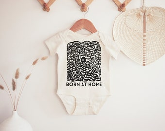 Born at Home Onesie (baby bodysuit, 0-3 months, home birth, midwife gift)