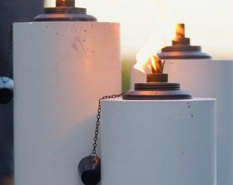 Premium White Concrete Tiki Torch Set