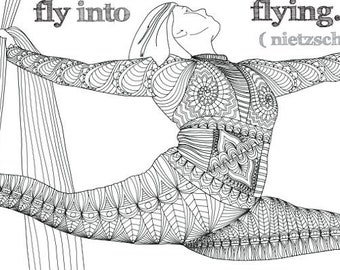 """Aerial Silks Coloring Book Page: """"Those who would learn to fly..."""""""