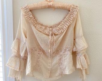 Vintage silk and lace cotton corset blouse