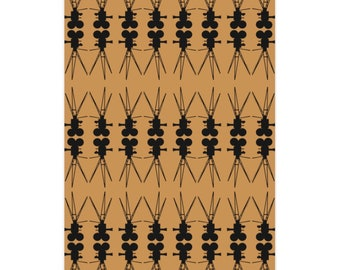 Vintage Film Camera Taupe and Black Wrapping Paper