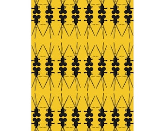 Vintage Film Camera Yellow and Black Wrapping Paper