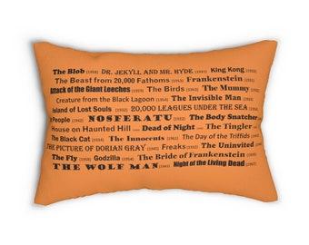 Monster Movies - Orange Spun Polyester Lumbar Pillow