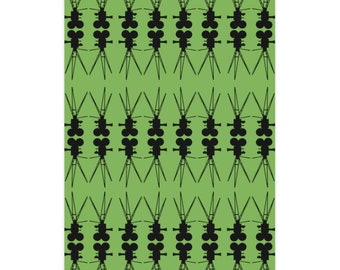 Vintage Film Camera Green and Black Wrapping Paper