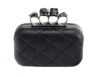 Black Leather Skull Ring Clutch