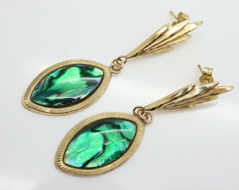 Striking Vintage Drop Earrings in 9ct Gold and Abalone Shell