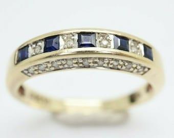 9Ct Gold Sapphire & Diamond Half Eternity Band Ring, Size Q 1/2