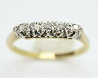 Antique Art Deco 18ct Gold Platinum Five Stone Diamond Ring, Size L 1/2