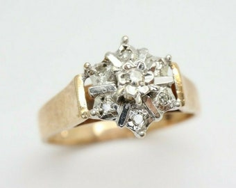 Vintage 9ct Gold Diamond Cluster Flower Head Ring, Size O