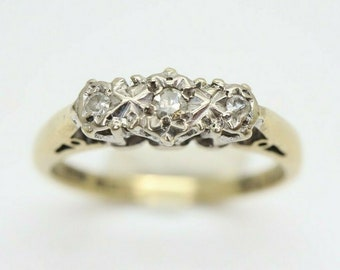 Vintage 18ct Gold & Platinum Trilogy Diamond Engagement Ring, Size J 1/2