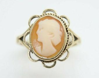 Vintage Ladies 9ct Yellow Gold Cameo Dress Ring, Size K 1/2