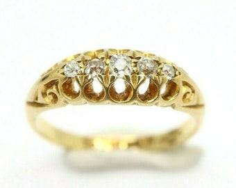Antique/Vintage 18ct Gold Five Stone Diamond Gypsy Ring, Size K, 2.9g