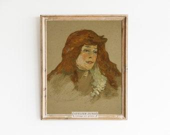 Vintage oil painting portrait study French art print Toulouse-Lautrec